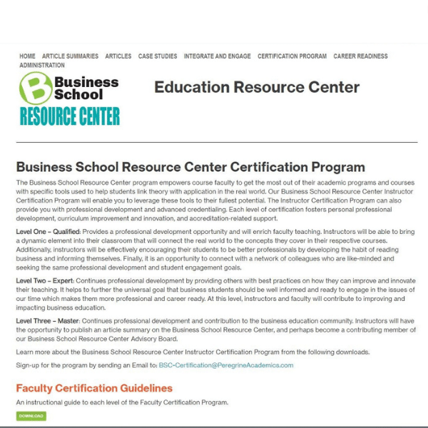 business school resource center certification program Peregrine Global Services