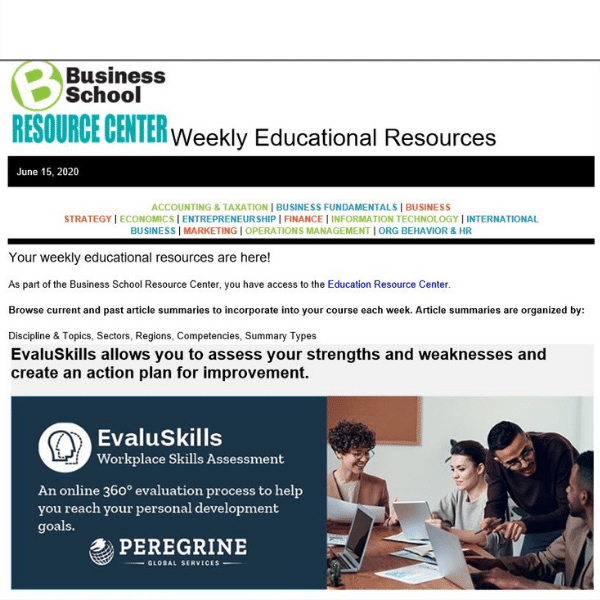 business school weekly education resources Peregrine Global Services