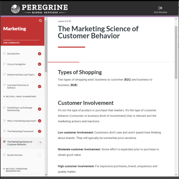 elearning LEL Marketing Science of Customer Behavior Peregrine Global Services