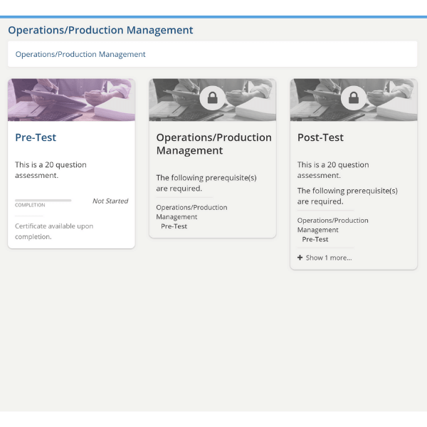 operations production management pre and post tests Peregrine Global Services