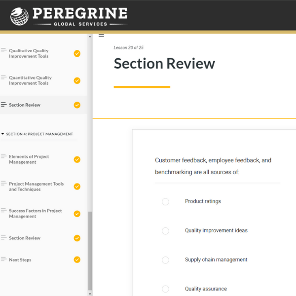 section review for digital course materials Peregrine Global Services